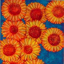 Zonnebloemen in blauw